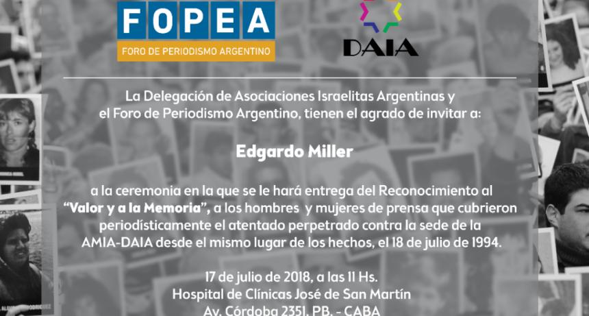 Reconocimiento a Edgardo Miller por cobertura atentado AMIA