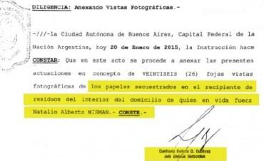 NISMAN: La policía encontró en el cesto de la basura el pedido de detención de Cristina