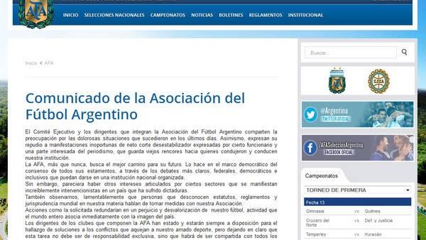 AFA: Con un comunicado oficial le respondió a Berni sin nombrarlo