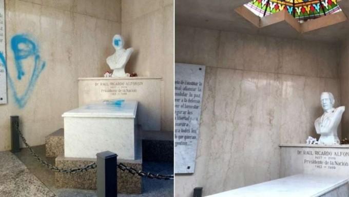 RAUL ALFONSÍN: Tras el ataque, ya restauraron su mausoleo