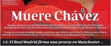 Así reflejó la prensa venezolana la muerte de Hugo Chavez