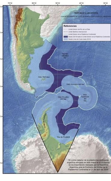 Cancillería presentó el nuevo límite exterior de la Plataforma Continental Argentina, con un 35% más de superficie